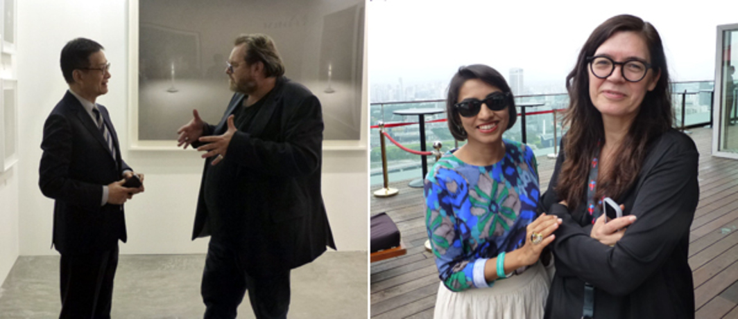 Left: Art Stage Singapore director Lorenzo Rudolf walks a client around Kobayashi Gallery. Right: Writer Bharti Lalwani with CCA Singapore founding director Ute Meta Bauer atop Marina Bay Sands. (All photos: Kate Sutton)
