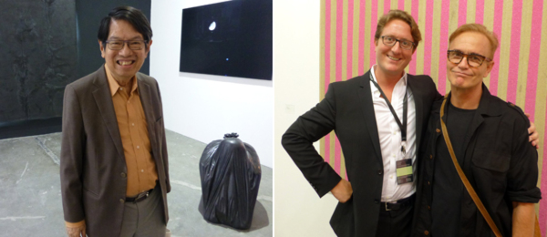 "Left: Collector ""Dr Oei"" Hong Dijen at Art Stage Singapore. Right: Dealer Graham Steele and artist Ashley Bickerton at Art Stage Singapore."