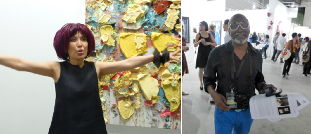 Left: Dealer Pearl Lam. Right: Art Stage Singapore India Platform curator Bose Krishnamachari.