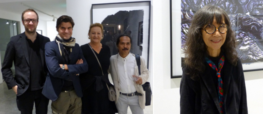 Left: Dealers Manfred Wiplinger, Thomas Krinzinger and Ursula Krinzinger with artist Entang Wiharso at Singapore Tyler Print Institute. Right: Artist Han Sai Por at the Singapore Tyler Print Institute.