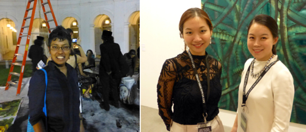 Left: Singapore Art Museum director Susie Langham. Right: Dealers Sunny Kim and Bona Yoo at Art Stage Singapore.