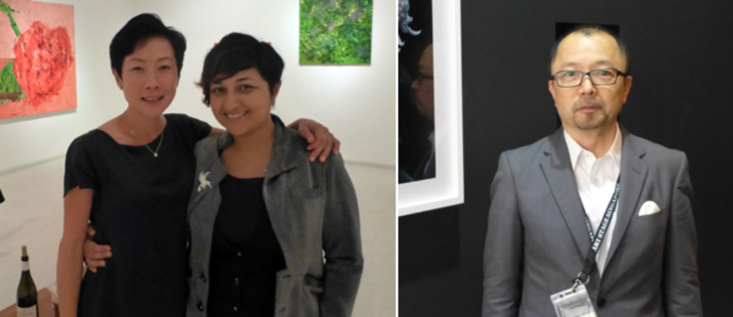 Left: Dealer Stephanie Tham with artist Sharmistha Ray at Galerie Steph. Right: Dealer Shugo Satani at Art Stage Singapore.