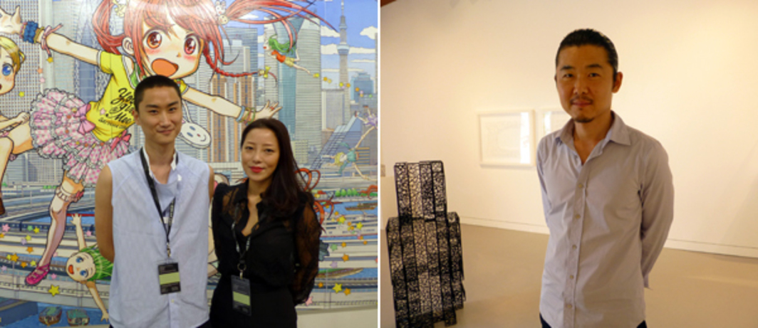 Left: Dealers Uli Zhiheng Huang and Etsuko Nakajima at Art Stage Singapore. Right: Artist Shin Il Kim at Space Cottonseed.