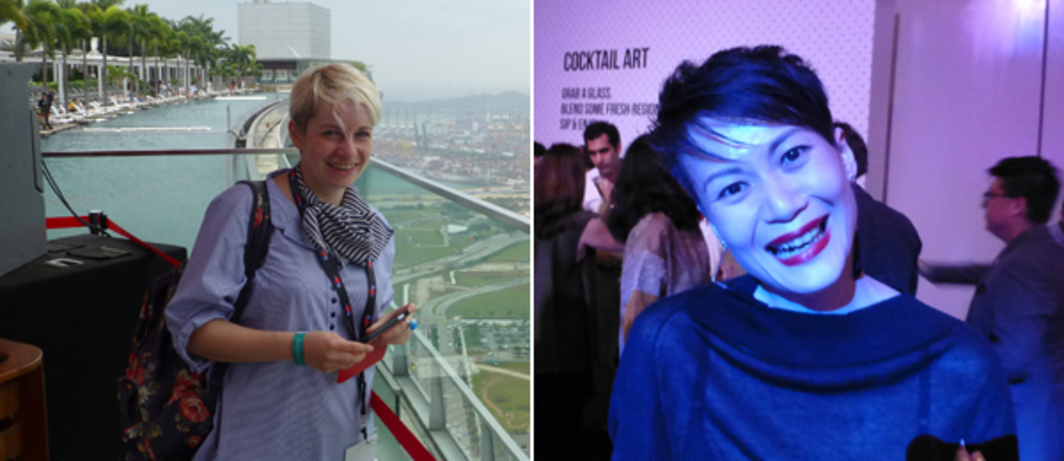 Left: CCA Singapore curator Anca Rujoiu atop Marina Bay Sands. Right: Rogue Art's Adeline Ooi at the Singapore Arts Dinner.