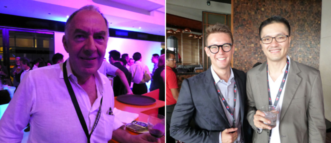 Left: Art Stage Singapore Australia Platform curator Charles Merewether at the Singapore Arts Supper. Right: Dealer Benjamin Milton Hampe with National Arts Council's Paul Tan atop Marina Bay Sands.
