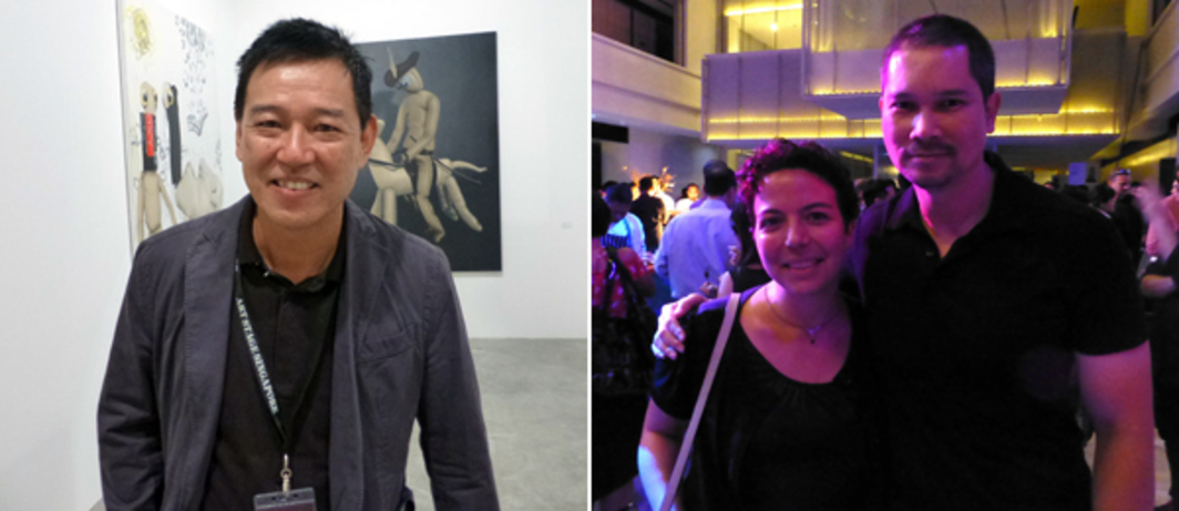 Left: Dealer Chris Dharmawan at Art Stage Singapore. Right: Pipeline's Cristina Sanchez-Kozyreva with CCA Singapore curator Lee Weng Choy at the Singapore Arts Supper.