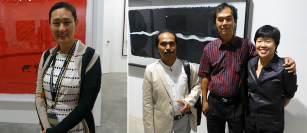 Left: Singapore Tyler Print Institute's Emi Eu at Art Stage Singapore. Right: Artist Entang Wiharso, collector N Hady Ang, and artist Genevieve Chua at Singapore Tyler Print Institute.