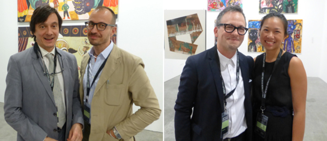 Left: Dealers Fabio Rossi and Mauro Ribero at Art Stage Singapore. Right: Dealer Ethan Cohen (left).