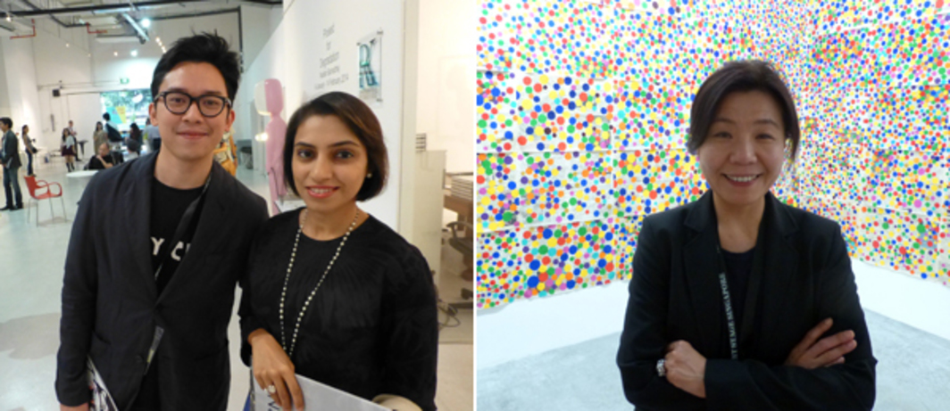 Left: Dealer Junior Tirtadji with writer Bharti Lalwani at Helutrans Art Space. Right: Art Stage Singapore Korea Platform curator Kim Sung Won.