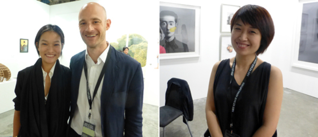 Left: Dealers Lorraine Kiang Malingue and Edouard Malingue at Art Stage Singapore. Right: Beijing Commune's Lu Jingjing at Art Stage Singapore.