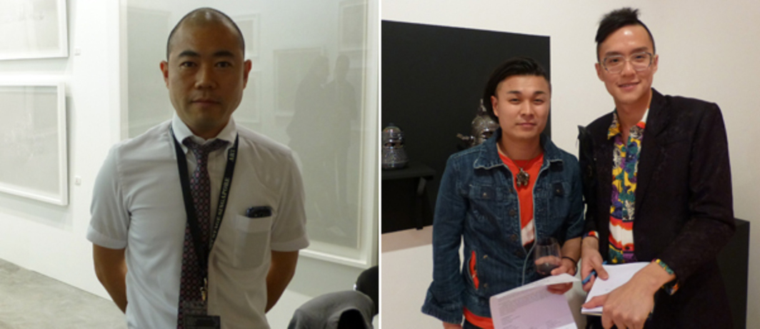 Left: Dealer Masatoshi Kobayashi at Art Stage Singapore. Right: Artist Riyoo Kim and dealer Kenneth Loe at Ikkan Gallery.