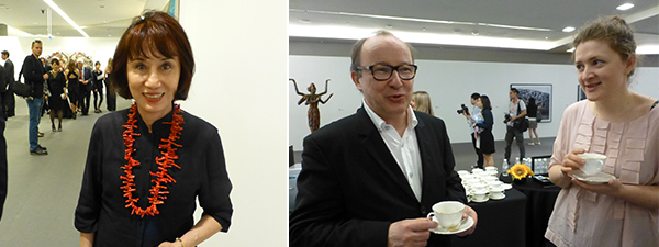 Left: Collector Melani Setiawn. Right: Prudential Eye Award jury member Andrei Erofeev with nominee Ira Korina.