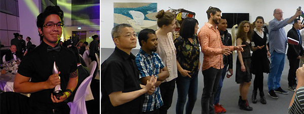 Left: Prudential Young Artist Award winner James John Dycoco. Right: The nominees line up with David Ciclitira at the press preview.