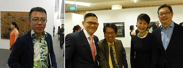 Left: Artist Liu Xiaodong. Right: Dealer Richard Koh, with collectors Dr Oei Hong Dijon and Kenneth Choi, and adviser Adeline Ooi (center).