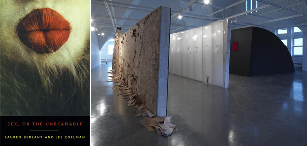 Left: Cover of Lauren Berlant and Lee Edelman's Sex, or The Unbearable (2013). Right: View of William Pope.L's Forlesen, 2013.