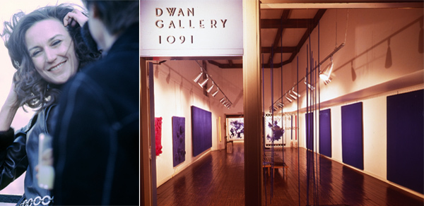 "Left: Virginia Dwan and Robert Smithson, New York, 1969. Photo: R. Prigent. Right: View of ""Yves Klein: Le Monochrome,"" 1961, Dwan Gallery, Los Angeles."