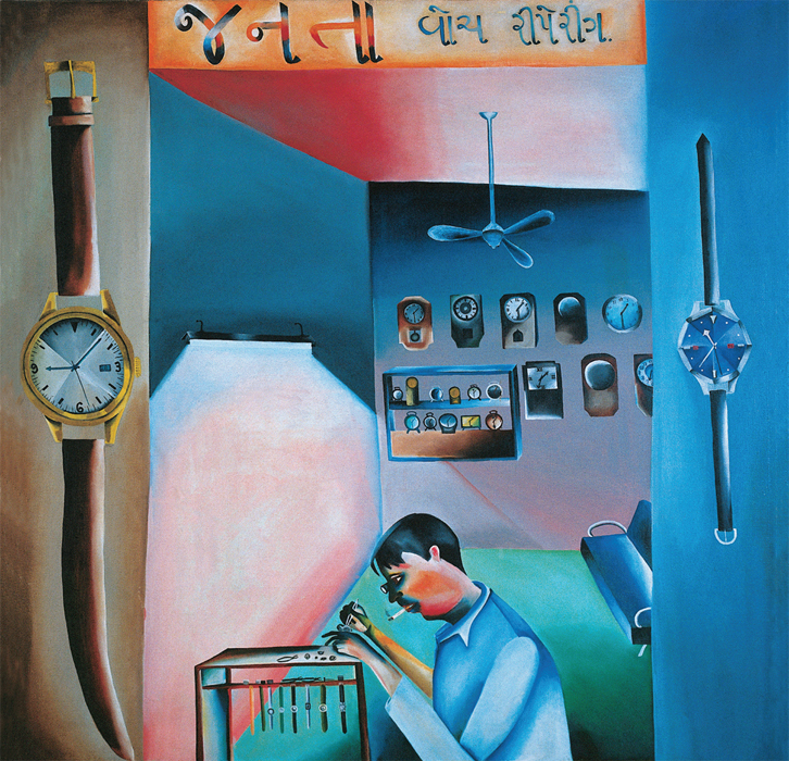 "Bhupen Khakhar, Janata Watch Repairing, 1972, oil on canvas, 36 1/4 x 36 1/4""."