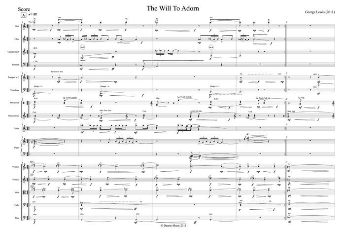 First page of score to George Lewis's The Will to Adorn, 2011.