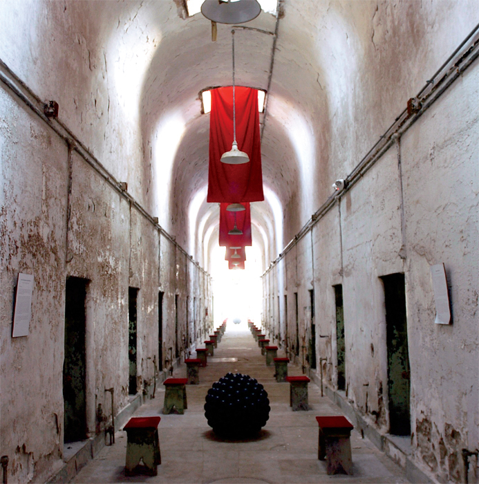 Terry Adkins, Sanctuary, 2003, mixed media. Installation view, Eastern State Penitentiary, Philadelphia.