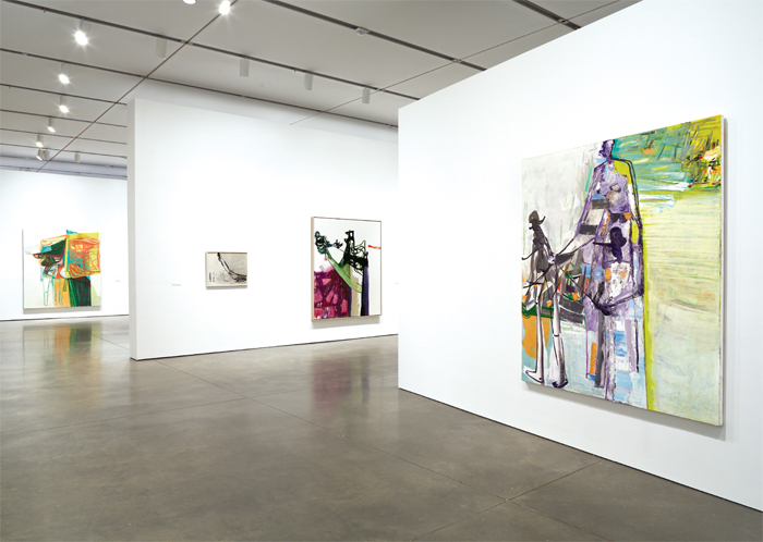 "View of ""Amy Sillman: one lump or two,"" 2013–14. From left: Psychology Today, 2006; Untitled, 1999; A Bird in the Hand, 2006; Them, 2006. Photo: Charles Mayer."