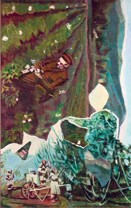 "Ilya Kabakov, Vertical Painting #12, 2012, oil on canvas, 112 x 70 7/8""."