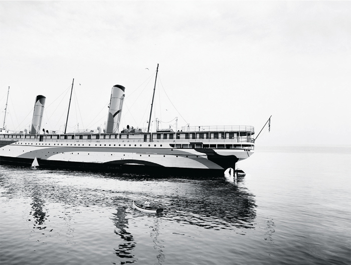 "Thomas Bangsted, SS Coeur d'Alene (Under Refit for Troop Transport), 2012–14, ink-jet print, 63 x 86 3/4""."