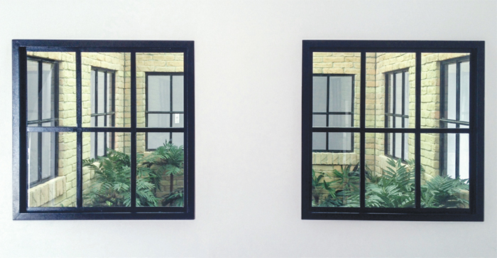 Leandro Erlich, Lost Garden, 2008, metal, bricks, glass, mirrors, fluorescent lights, artificial plants, dimensions variable.