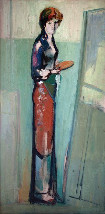 "Paul Guiragossian, Portrait of Juliette, 1978, oil on Masonite, 78 3/4 x 39 3/8""."