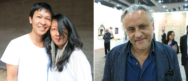 Left: Artist Danh Vo with Sharjah Biennial 12 curator Eungie Joo. Right: Artist Gabriel Orozco.