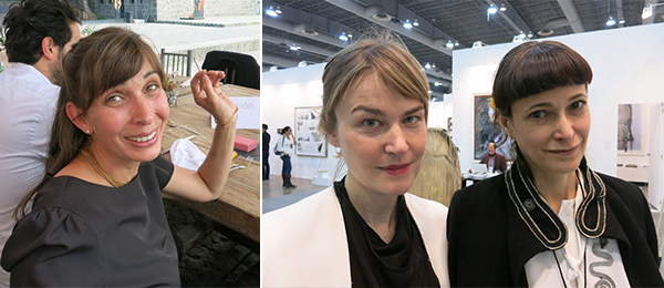 Left: Curator Patricia Martin. Right: Fabienne Stephan and dealer Jeanne Greenberg Rohaytn.