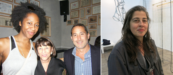 Left: MCA Chicago curator Naomi Beckwith, dealer Rhona Hoffman, and Grupo Habitat's Moises Micha. Right: Artist Leonor Antunes.