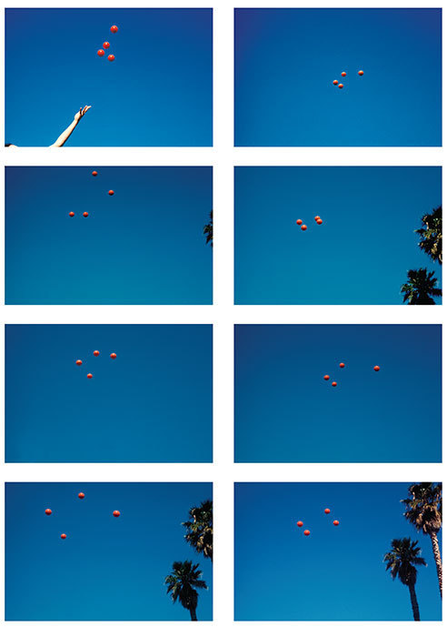 "John Baldessari, Throwing Four Balls in the Air to Get a Square (Best of 36 Tries), 1972–73, 8 color photographs, 89 1/2 x 13 3/4""."