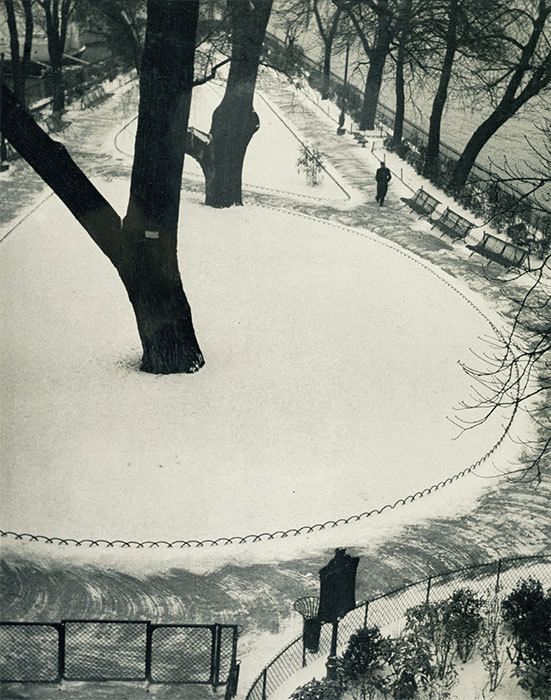 "André Kertész, The Vert-Galant Under the Snow, 1935, black-and-white photograph, 24 1/2 x 19 3/4""."