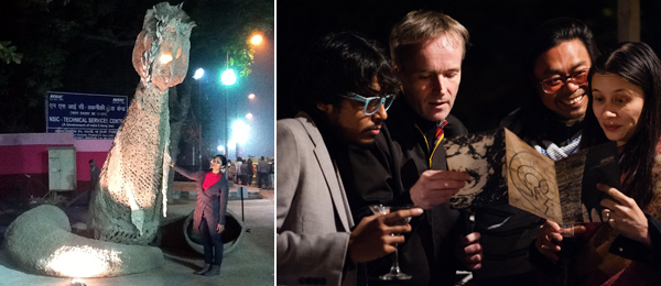 Left: Artist Anjana Kothamachu. (Except where noted, all photos: Zehra Jumabhoy) Right: Srinivas Aditya Mopidevi, assistant curator of INSERT 2014, with artists Rasmus Nielsen, Rirkrit Tiravanija, and Mai-Thu Perret. (Photo: Akshat Jain)