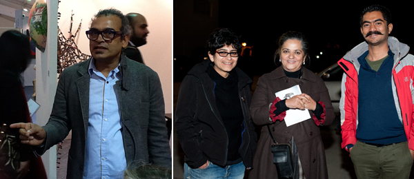 Left: Artist Subodh Gupta. Right: Artists Zuleikha Chaudhari, artist Dayanita Singh, and Umang Bhattacharya. (Photo: Akshat Jain)