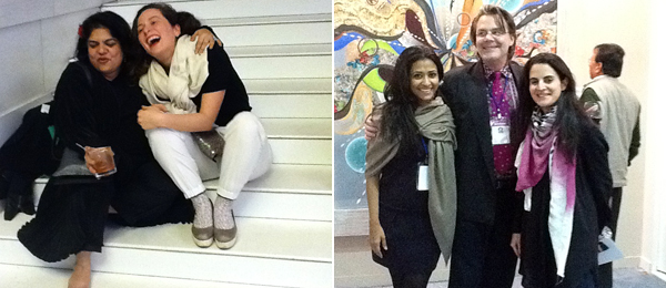 Left: Artist Sonia Khurana and dealer Derya Demir of NON gallery. Right: Aparajita Jain and Peter Nagy of Nature Morte with curator Nada Raza from Tate Modern.