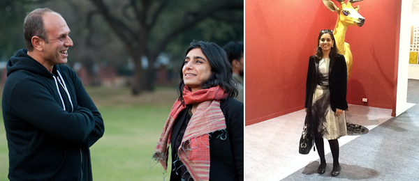 Left: Anton Vidokle and Monica Narula from Raqs Media Collective. (Photo: Akshat Jain) Right: Sotheby's Yamini Mehta.