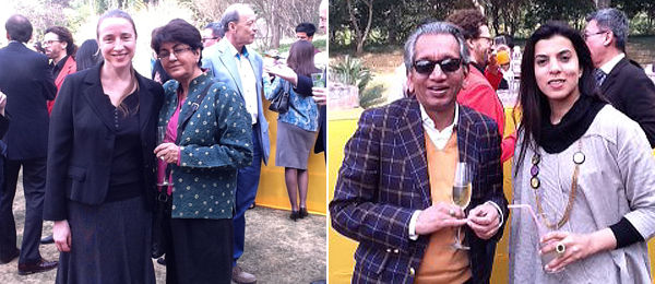 Left: Curator Sophie Duplaix and artist Nalini Malani. Right: Curator Deepak Ananth and artist Reena Kallat.