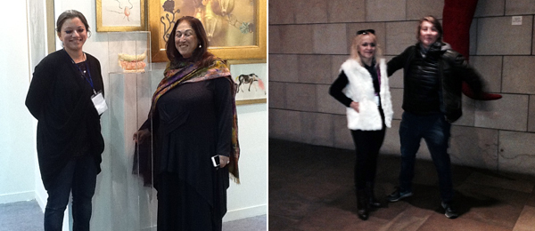 Left: Sandra Khare of Chemould Prescott Road and collector Kiran Nadar. Right: Dealer Suzanne Tarasieve and art consultant Anne Maniglier.