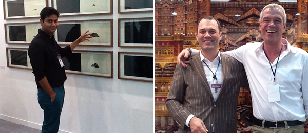 Left: Dealer Prateek Raja of Experimenter. Right: Marcel Huisman and Bert van Zetten of Villa del Arte Galleries.