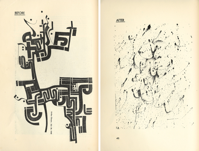 *Two drawings by Arthur Hoener made before and after taking psilocybin, _The Harvard Review_ vol. 1, no. 4 (Summer 1963).*