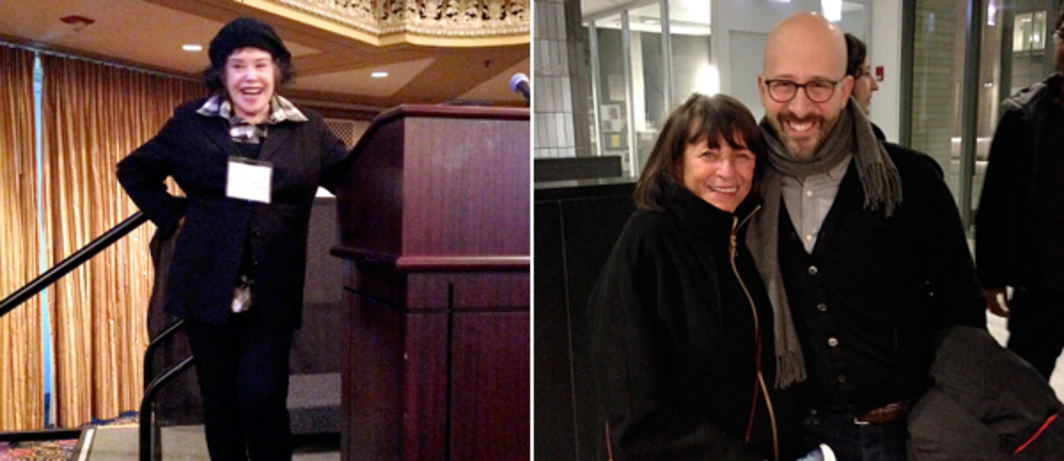 Left: Artist Phyllis Bramson. Right: Dealer Rhona Hoffman with critic Daniel Quiles. (Photos: Jason Foumberg)