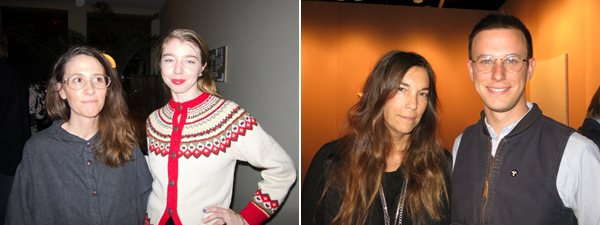 Left: Artists Laura Owens and Emily Sundblad. Right: Dealer Lisa Spellman and artist Jacob Kassay.