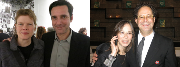 Left: Writer Julie Ault with Semiotext(e) editor Hedi El Kholti. Right: Lorraine Weinberg with Whitney Museum director Adam Weinberg.