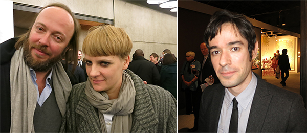 Left: Dealer Alexander Schroeder and curator Pati Hertling. Right: Artist Jeronimo Elespe.