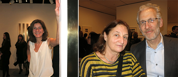 Left: Dealer Stefania Bortolami. Right: Photographers Susan Meiselas and Mitch Epstein.