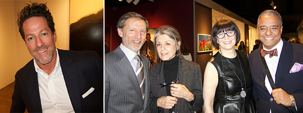 Left: Dealer Tim Blum. Right: Collector Peter Kraus, dealer Paula Cooper, collector Jill Kraus, and dealer Steve Henry.