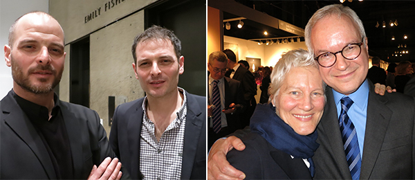 Left: Dan Uran with artist Uri Aran. Right: Artist Ann Hamilton and art attorney John Silberman.