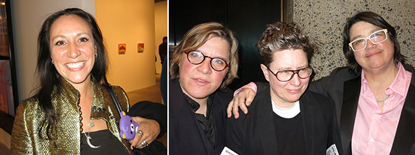 Left: LAND founder Shamim Momin. Right: Artists Susan Wright, Daphne Fitzgerald, and Catherine Opie.