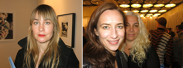 Left: Dealer Fabienne Stephan. Right: Artist Josephine Meckseper and dealer Andrea Rosen.